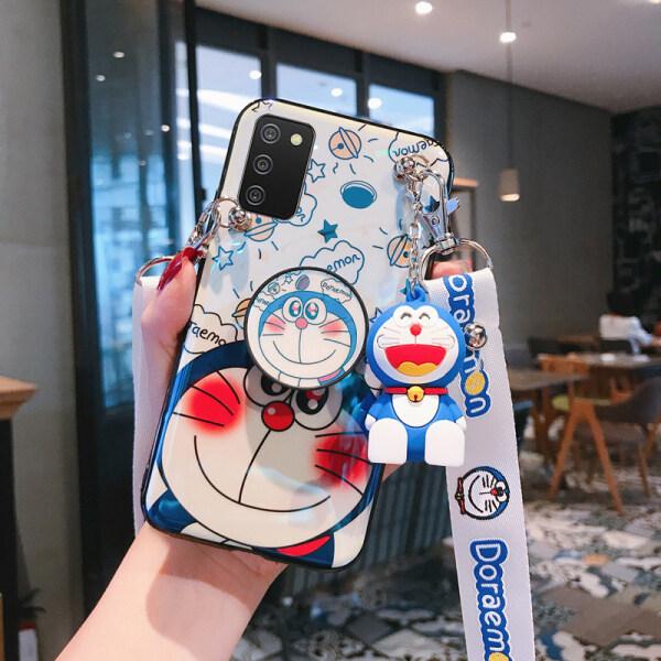 Dành Cho Samsung Galaxy Ốp Lưng Doraemon Blu-ray Sang Trọng A02 / A02s / A52 / A32 4G / A32 5G / A12 / A42, Giá Để Búp Bê Hoạt Hình Dễ Thương Vỏ Khung Có Dây Đeo Vai