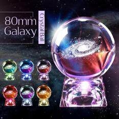 80mm rõ ràng thủy tinh khắc Galaxy Crystal Ball với LED/Cơ sở kim loại quà tặng trang trí nội thất-bóng đơn