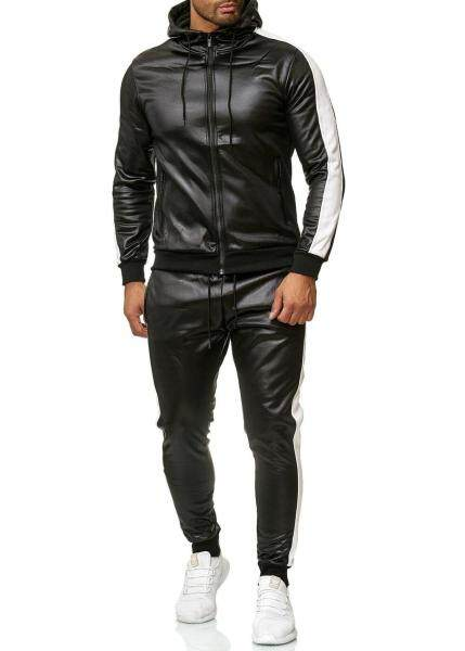 PU Leather Men Tracksuit Hooded Mens Set Casual 2 Pieces Set Faux Leather Jacket+Pants 2020 Motorcycle Sports Suit Mens Clothes