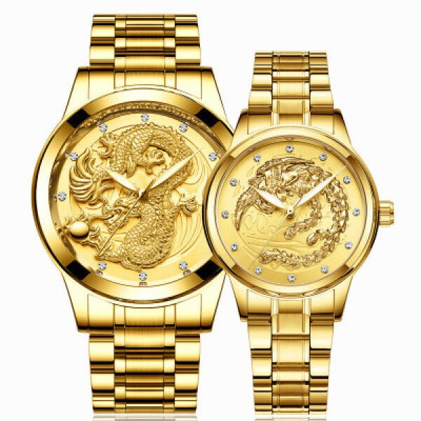 Hot-Selling Dragon And Phoenix Couple Watch Brand Mens Watch Non-Mechanical Watch Waterproof Luminous Gold Color Quartz Ultra-Thin Steel Band Watch Malaysia