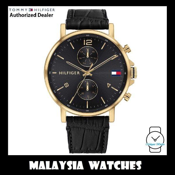 (100% Original) Tommy Hilfiger 1710417 Daniel Quartz Analog Black Dial Gold-Tone Case Black Leather Strap Mens Watch (2 Years International Warranty) Malaysia