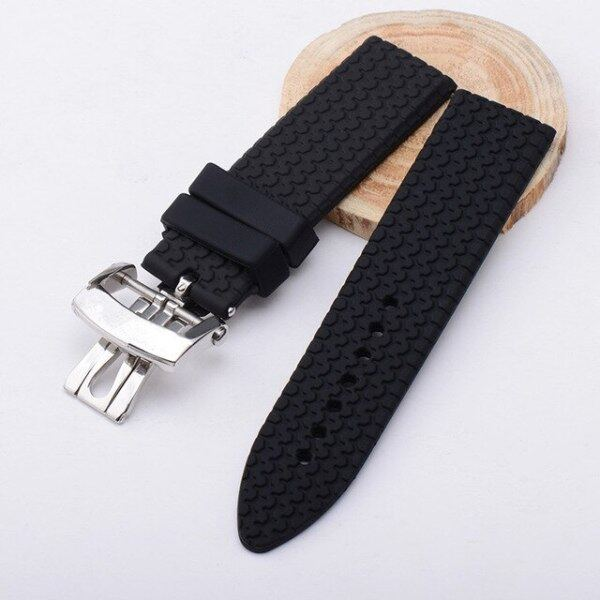 23mm rubber watchband for chopard watch strap with stainless steel butterfly buckle waterproof bracelet Malaysia
