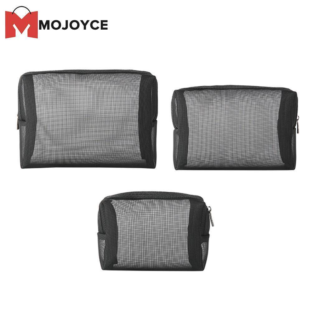 6c4adb75e9 MOJOYCE 3pcs Portable Cosmetic Bag Toiletry Nylon Mesh Travel Zip Makeup  Organizer