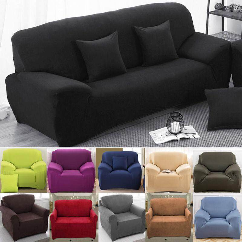 Non Slip Elastic Sofa Solid Cover Anti-Mite Protector Couch Cover Armchair Slipcover Home Decor Stretch Sofa Cover Removable 1 2 3 4 Seater