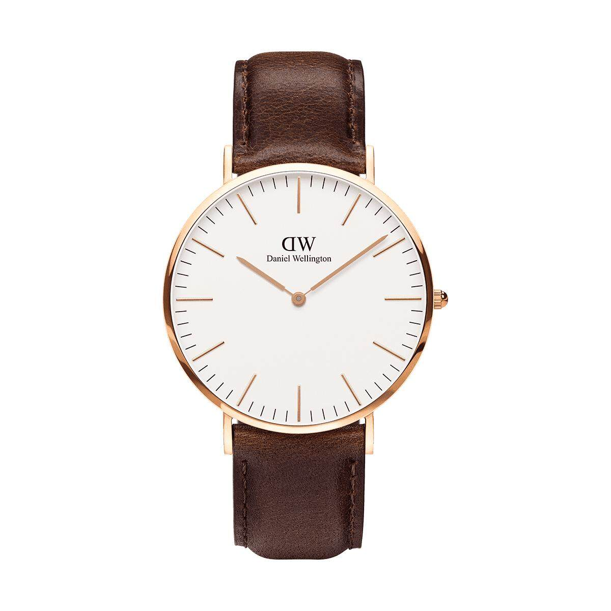 DW original watch with box Classic Sheffield 40 rose gold mens watch dark brown strap Malaysia