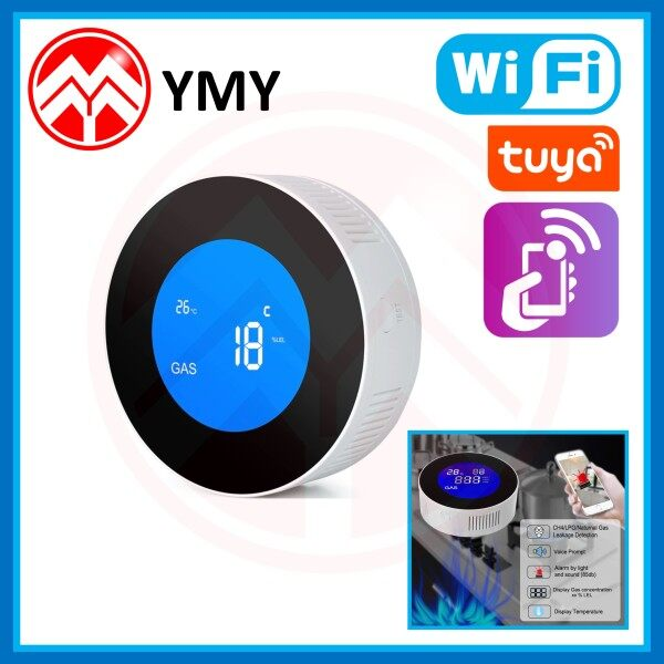 [Tuya or Smart Life App] Wifi Smart Natural Gas Alarm Sensor With Temperature Indicator Combustible Gas Leak Detector LCD Display Firm Alarm Protection for Smart Home Support Google Home Amazon Alexa