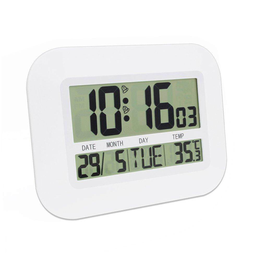BGD Digital Desk Wall Alarm Clock with Thermometer & Calendar LCD Large Screen