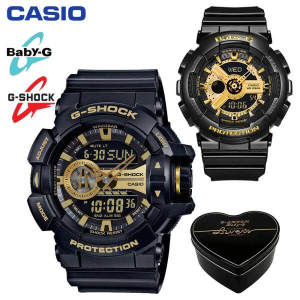 2020 The New (Ready Stock) Original Casio G Shock_BA-110-1A/GA-400GB-1A9 Men Women Couple Set Sport Watch Duo Double Display Water Resistant Shockproof and Waterproof World Time LED Light Wist with 2 Year Warranty BA110/BA-110 GA400/GA-400 Black Gold Malaysia