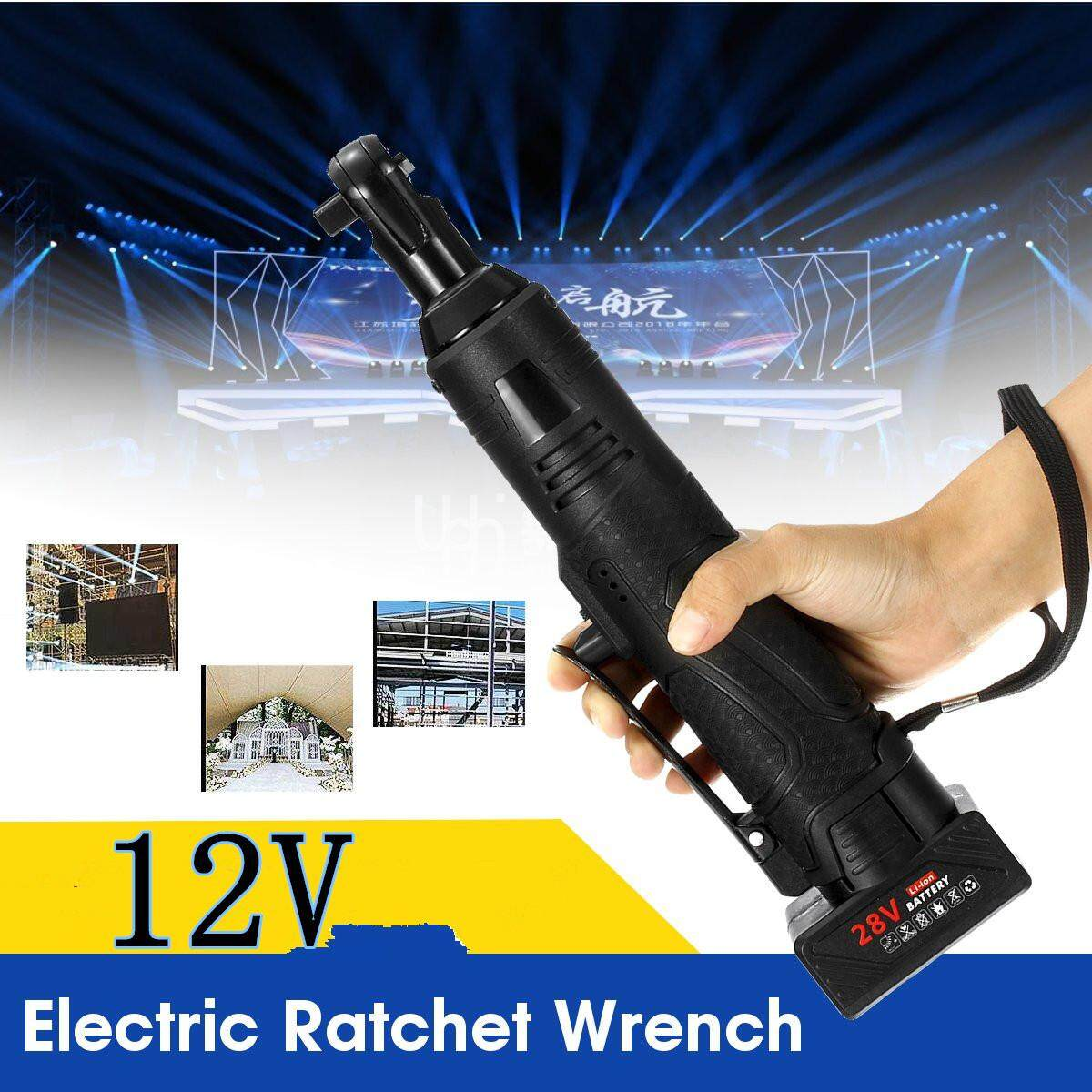 12V/18V/28V Cordless Electric Right Angle Ratchet Wrench One Battery One Charger-12V