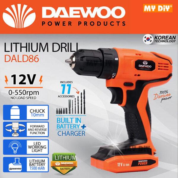 MYDIYSDNBHD - DAEWOO DALD86 Cordless Drill 12V Lithium Battery 550rpm 10mm Chuck FREE 11pcs Accessories (Build In Battery)