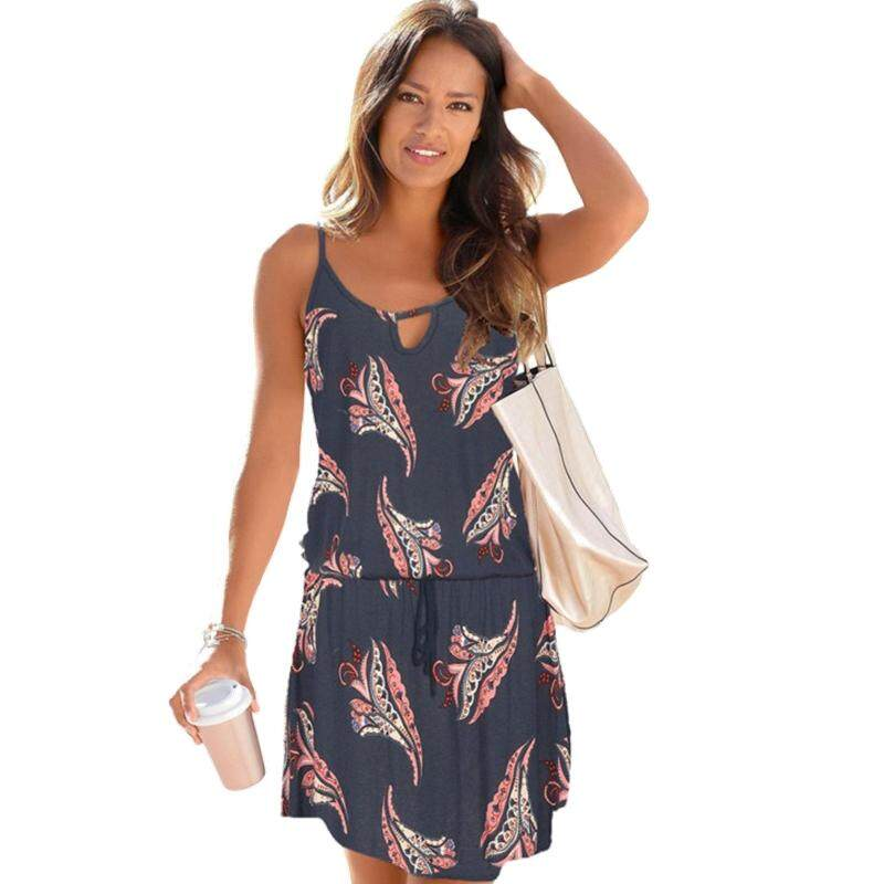 2f4278ecf23ee Trendy Beach Dress For Women Bohemian Style Printing Short Dress Summer  Ladies Sexy Spaghetti Strap Off