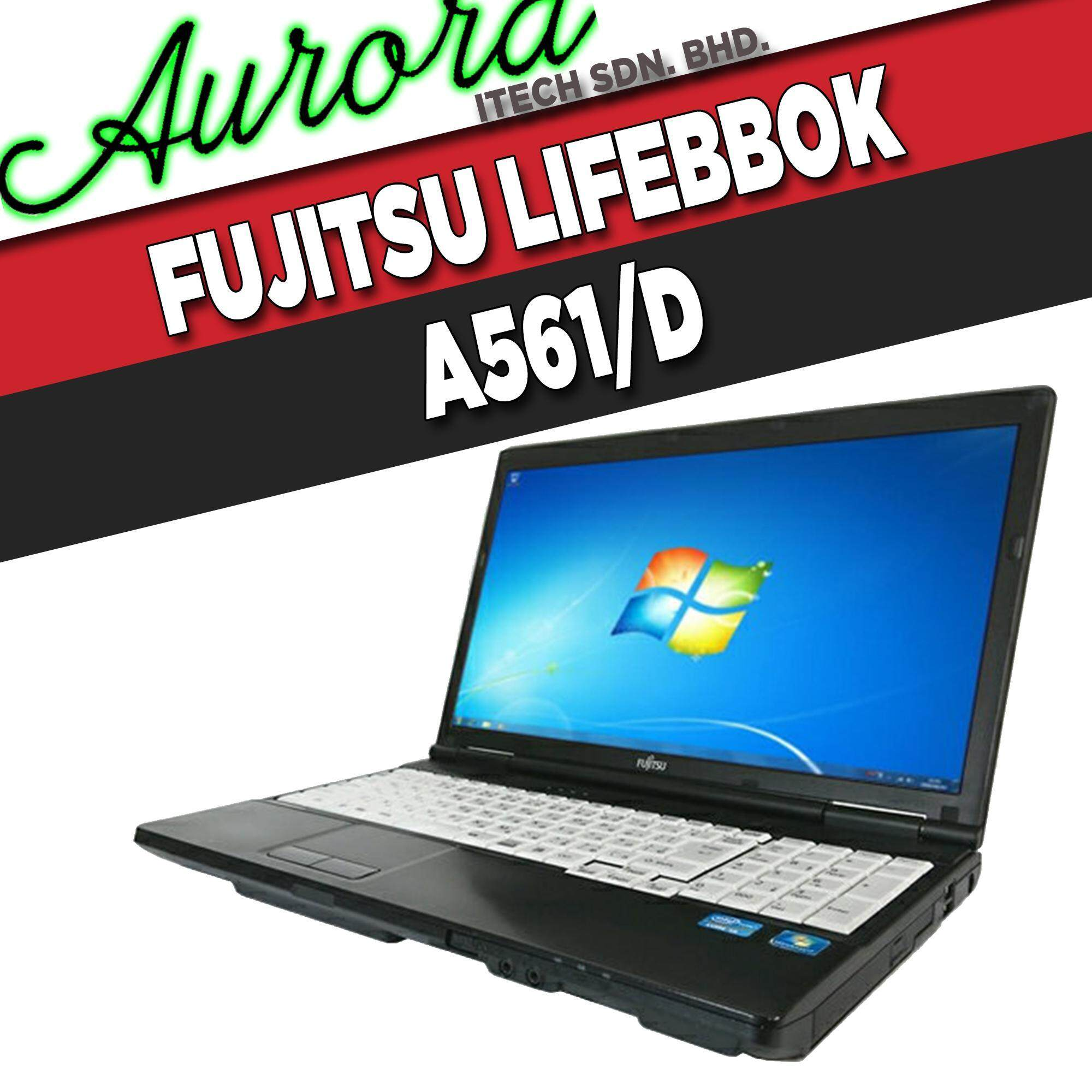 (REFURBISHED) FUJITSU LIFEBOOK A561/D / INTEL CORE i5-2ND GENERATION / 4 GB DDR3 RAM / 250 GB SATA HDD / 15.6 INCH LCD / 1 YearWarranty, Free Mouse Malaysia