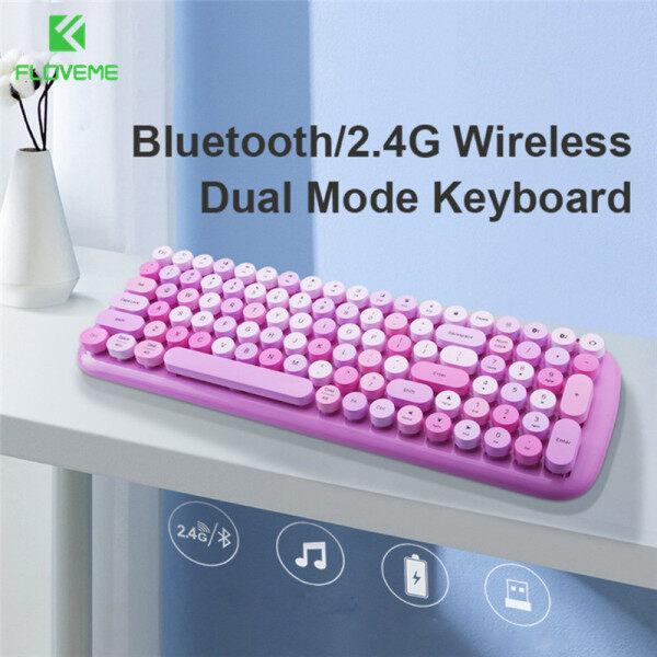 FLOVEME 2.4G Wireless Keyboard Dual Mode Bluetooth Keyboard For Mobile Phone/iPad/Laptop/Tablet/Gaming/Work Easyswitch 100-key Keyboard
