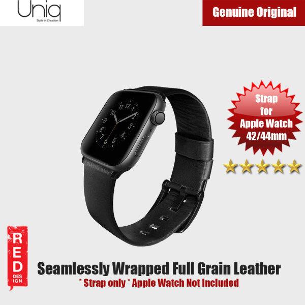 Uniq Mondain Series Full Grain Leather Strap for Apple Watch 42mm 44mm Series 4 Series 5 Series 6 SE  (Black) Malaysia