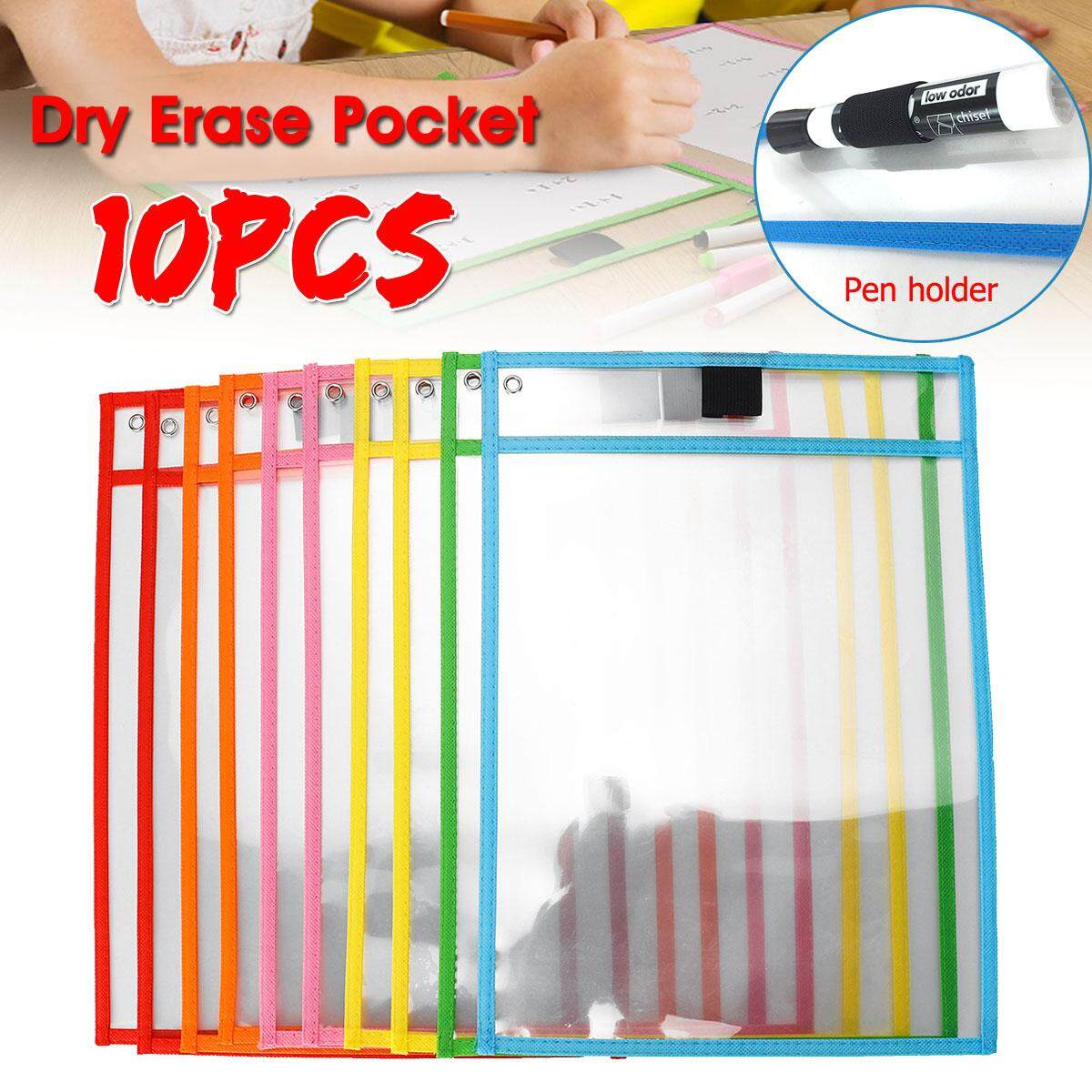 10Pcs Resuable Dry Erase Pocket Sleeves Students Kids Wipe Learning Paper Tool