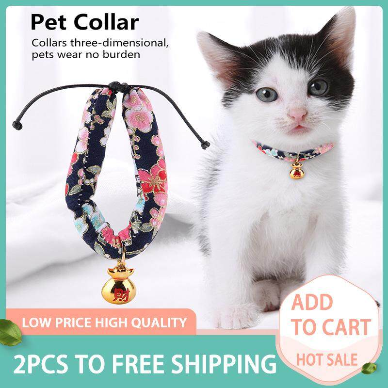 【buy One Get One Free】deetee Japanese-Style Collar With Bell For Cats Small Dog Poodles Pattern Print Collar By Deetee Shop.