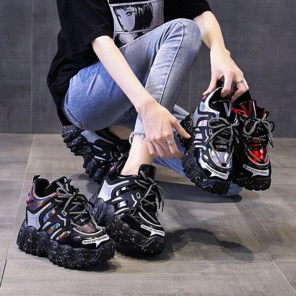 Giày Thể Thao Đế Xuồng Cao 10Cm/3.9 Inch Cho Nữ Giày Buộc Dây Phong Cách Hàn Quốc Thường Ngày giá rẻ