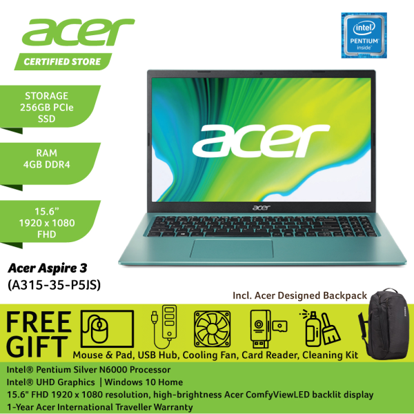 Acer Aspire 3 A315-35-P5JS 15.6 FHD Laptop Electric Blue ( Pentium N6000, 4GB, 256GGB SSD, Intel, W10 ) Malaysia