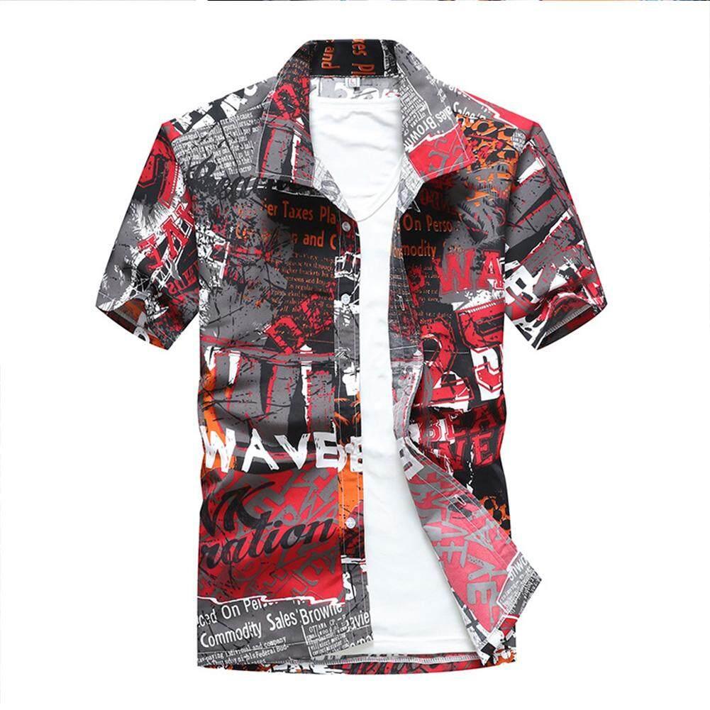 6d118f03a99 Men Hawaii Beach Shirt Colorful Printing Quick-drying Fashion Short Sleeve  Casual Shirt