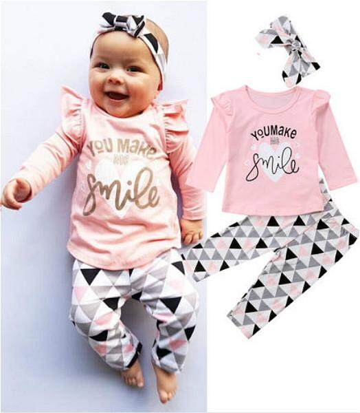 ca82b834 Newborn Infant Baby Girls Clothes Tops Smile T-shirt + Pants Leggings  Outfit Set