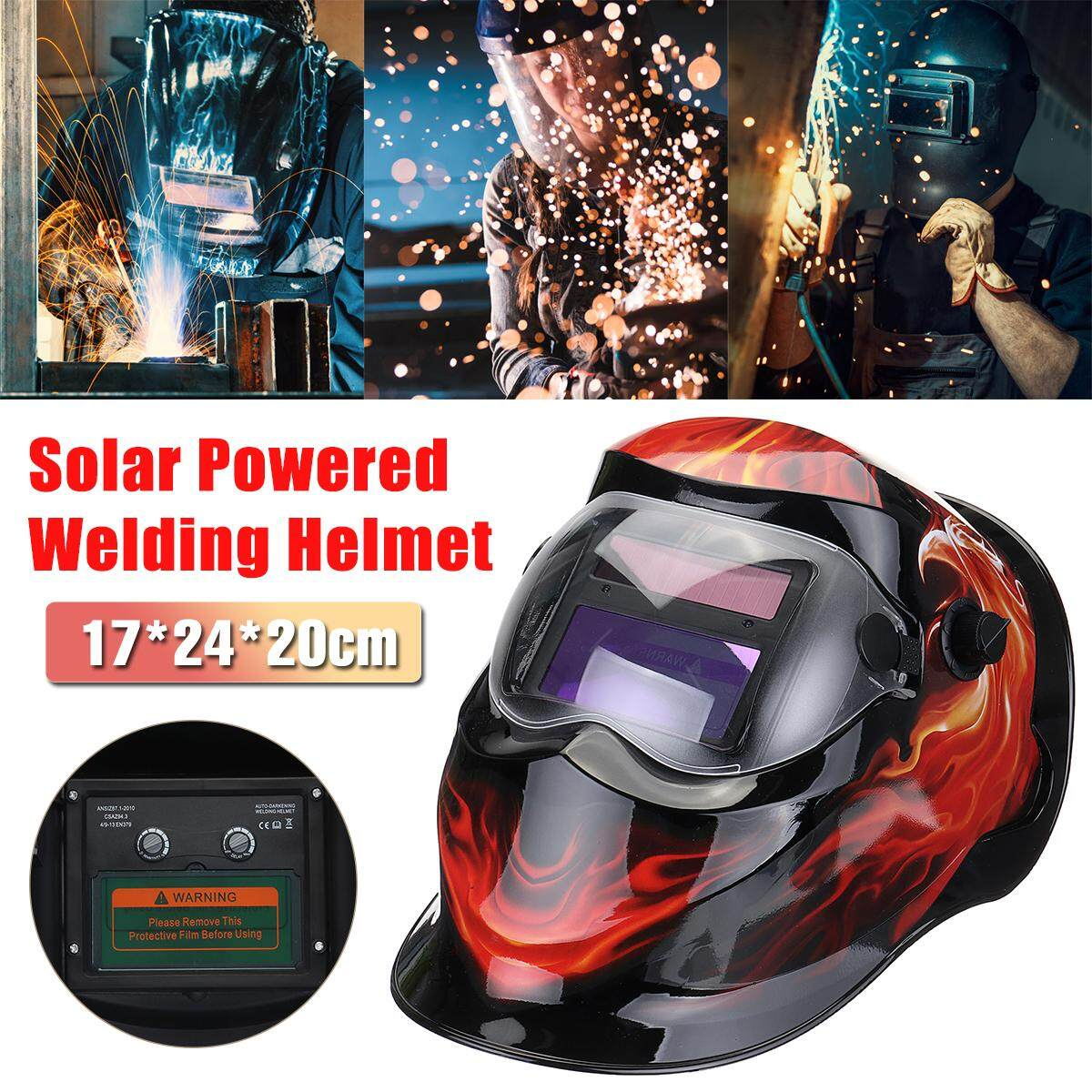 【Free Shipping + Flash Deal】Solar Power Automatic Dimming Welding Helmet Welder Mask Adjustable Head Band PP