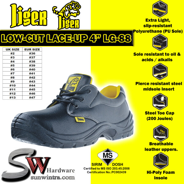 LIGER 4 Inch Low-Cut Lace-Up Sirim Safety Shoes LG-88/LG88 (Size Available #6 ~ #10)