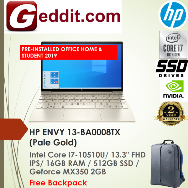HP ENVY 13-BA0008TX LAPTOP (I7-10510U,16GB,512GB SSD,13.3 FHD,GEFORCE MX350 2GB,WIN10) FREE BACKPACK + PRE-INSTALLED OFFICE H&S 2019 Malaysia