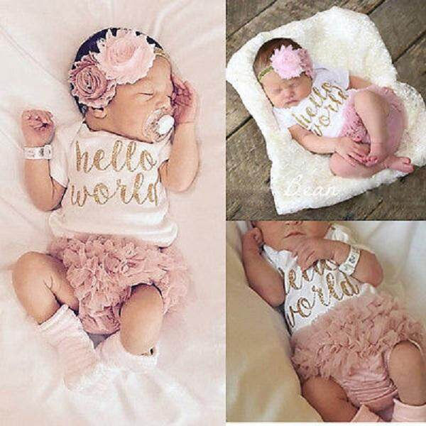 Kids Newborn Toddler Baby Girl Floral Romper+Tutu Skirt Pants Outfit Clothes Set