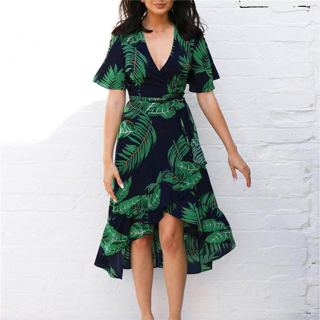 c834c97913 Guo Fashion Women Boho Dress Polka Dot Prints V Neck Waist Lace Up  Sleeveless Dress