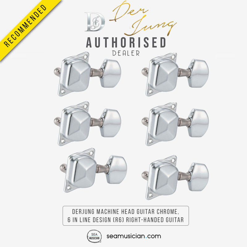 DERJUNG DJ223 MACHINE HEAD GUITAR COLOR CHROME, 6 IN LINE DESIGN (R6) SET FOR RIGHT-HANDED GUITAR WITH GEAR RATIO 1:14 (TUNING PEG/ HEAD TUNERS) Malaysia