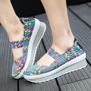 DOSREAL Women Sneakers Wedge Breathable Increased Walking Shoes Slip On Casual Shoes Travel Shoes Sneakers Mixed Color Women Shoes 1
