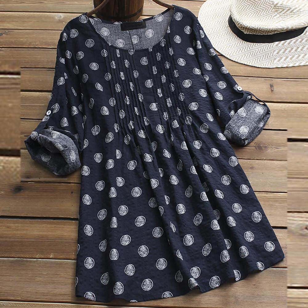 b7308ea6b9c Women Ladies Long Sleeve Polka Dot Loose Blouse Pullover Button Tops Shirt