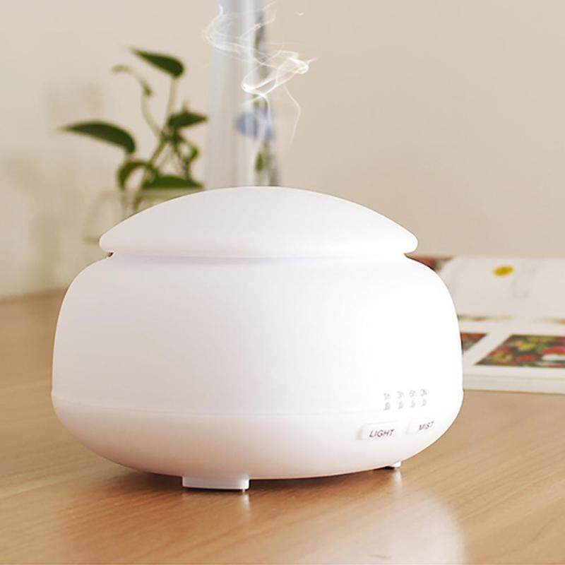 300ml Wood Grain Aroma Diffuser Ultrasonic Air Humidifier w/7-Color Light(White)-Manual EU Singapore