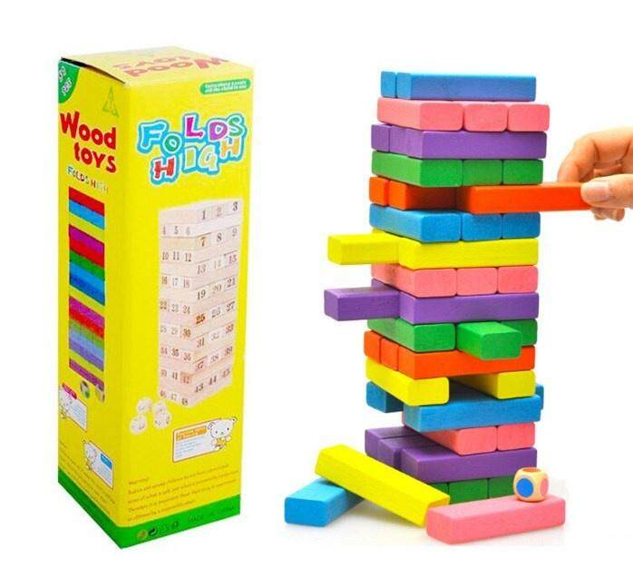 Fold High Wood Colourful Stacko Color Blocks Classic Tumble Tower Wood Game By 388 Chubbytoys.