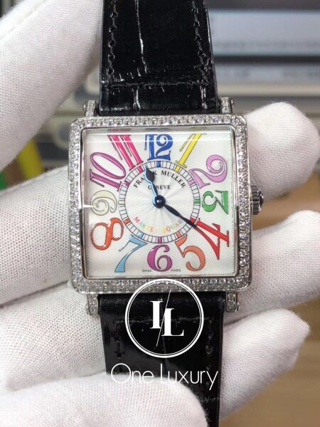 [ONE LUXURY] FM MASTER SQUARE 6002 33MM LADIES WATCH COLOUR DREAMS DIAMOND BEZEL ON BLACK LEATHER STRAP Malaysia
