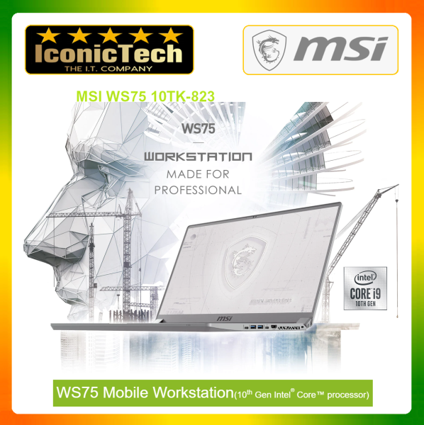 MSI WS75 10TK-823 Mobile Workstation Laptop (I7-10875H HM470,32GB DDR4, 17.3 IPS, RTX 3000 6GB, 1TB NVME SSD, WIN10 PRO) Malaysia