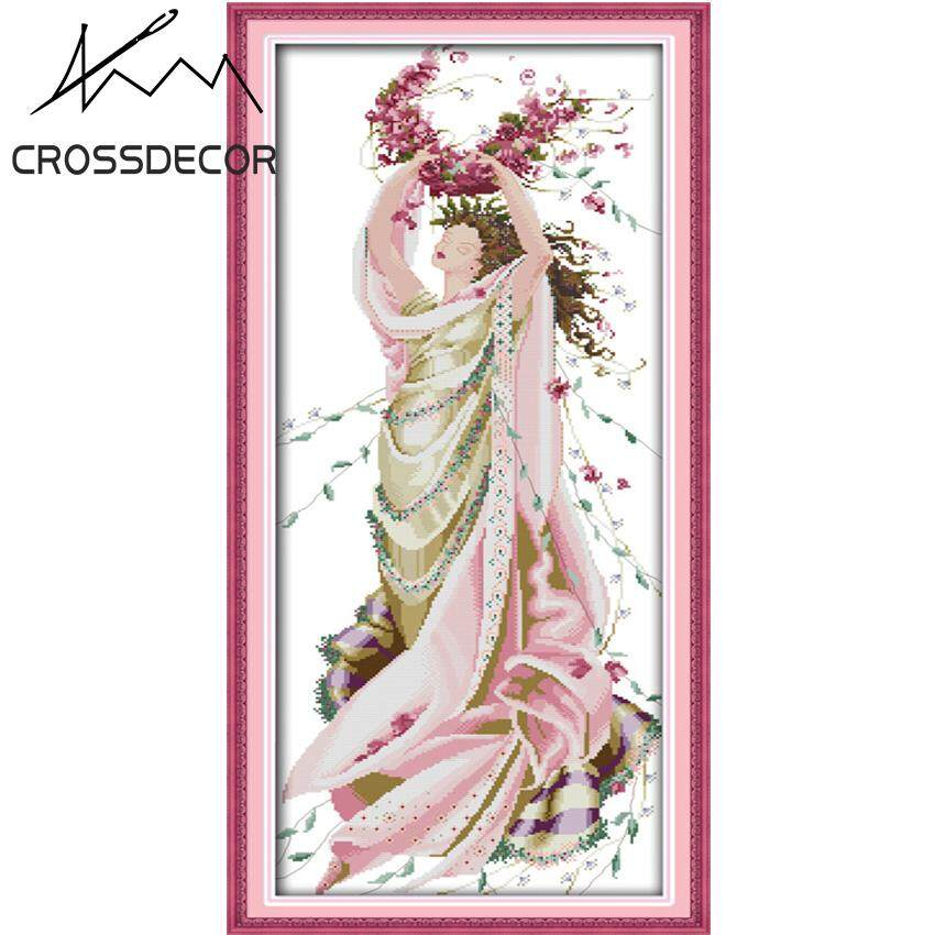 Stamped Cross Stitch Set Rose  Fairy DIY Embroidery Handmade Needlework Kits Home Living Room Wall Decor Picture
