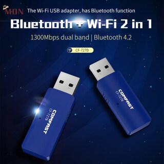 MON Bộ Chuyển Đổi Wifi Không Dây 5Ghz Bộ Thu Tín Hiệu BT Bộ Chuyển Đổi Bộ Phát Ăng Ten Băng Tần Kép USB Bluetooth Tương Thích Với Máy Vi Tính Chất Lượng Cao thumbnail
