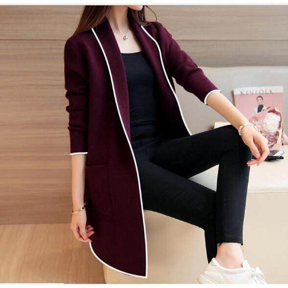cefeb15860667 Robe jacket jacket winter new Korean version of the solid color sweater  women's long cardigan loose