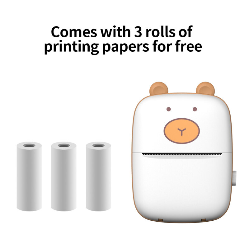 Smart Pocket Mini Printer HD Portable BT Connection Wire-less Printer Pocket Cute Appearance Photo Printing Label Notes Errors Memo Thermal Printer with 3 Rolls of Printing Papers