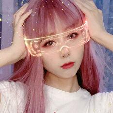 NewㆍSET Cyber Punk Kính Tương lai Khoa học và Công nghệ Cảm nhận Goggles Thời trang Đèn LED Kính râm Cho bữa tiệc Sáng Giáng sinh Glasses Thay đổi màu tự động