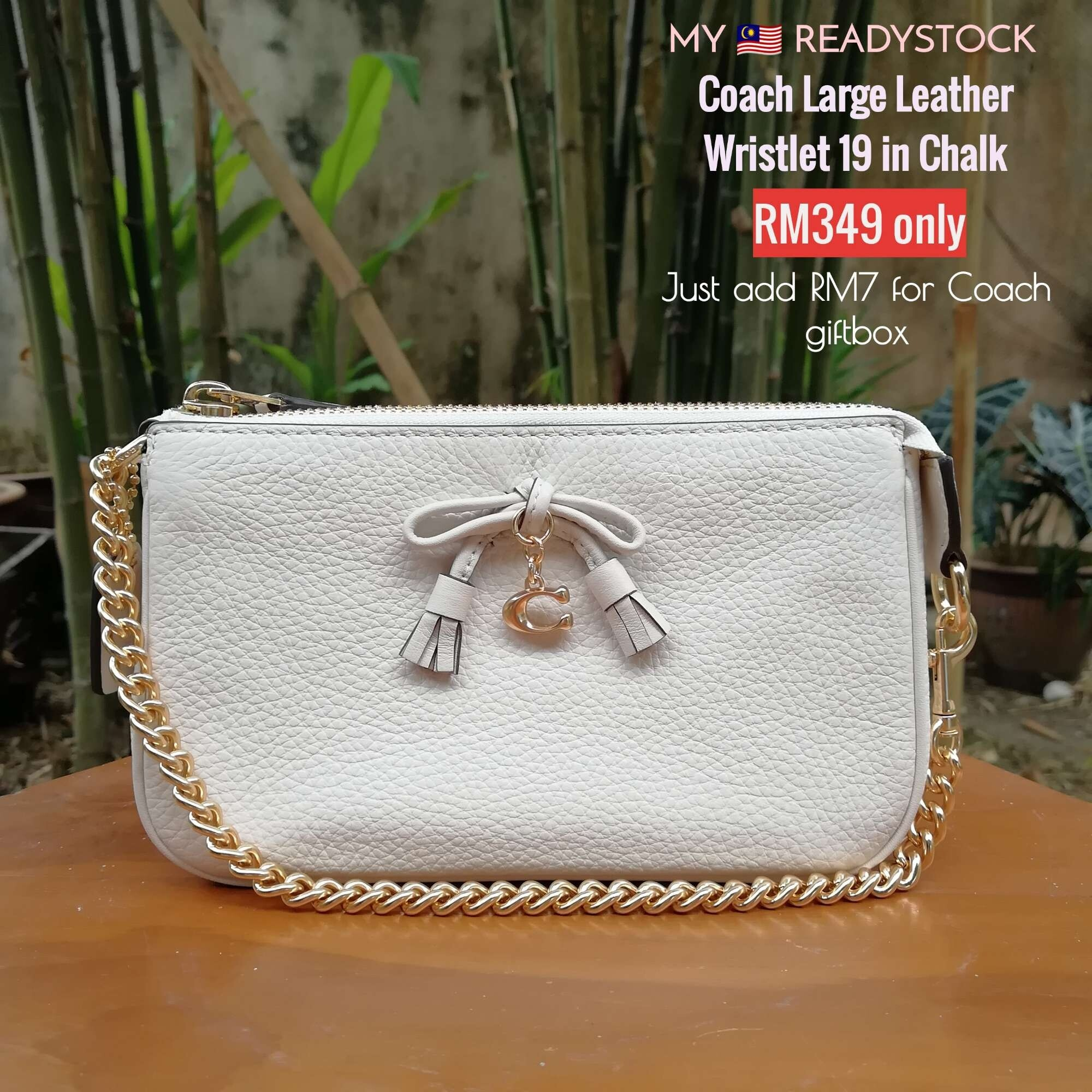 Readystock Coach Large Leather Wristlet in White Chalk Pebbled Leather