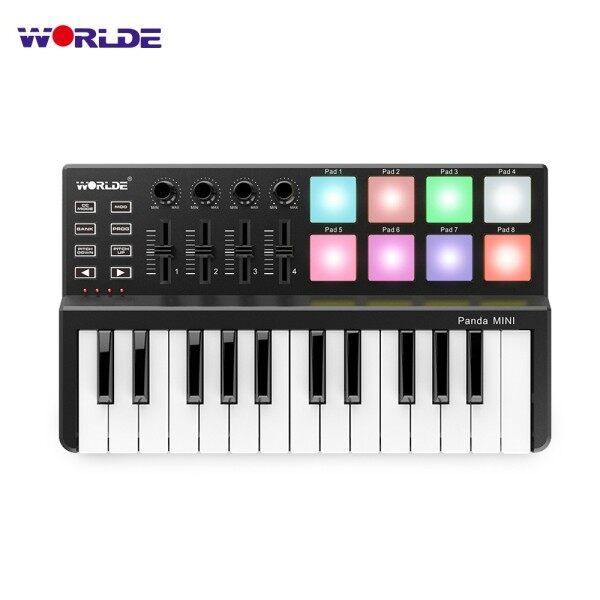 ♫ WORLDE Panda MINI 25-Key Ultra-Portable USB MIDI Keyboard Controller 8 Colorful Backlit Trigger Pads Malaysia