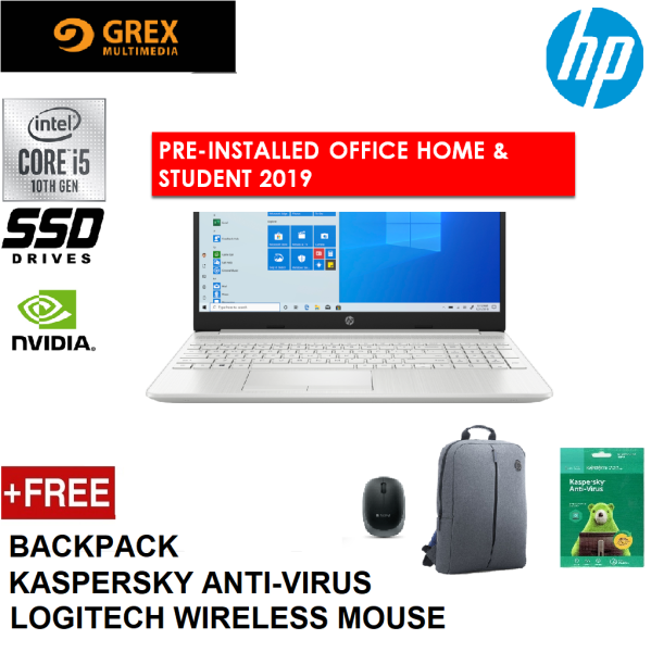 HP 15S-DU2027TX (SILVER) / 15S-DU2028TX (GOLD) LAPTOP (I501035G1,4GB,512GB SSD,15.6 FHD,MX330 2GB,WIN10) FREE BACKPACK + LOGITECH WIRELESS MOUSE + KSPSKY ANTI-VIRUS PRE-INSTALLED OFFICE H&S 2019 Malaysia