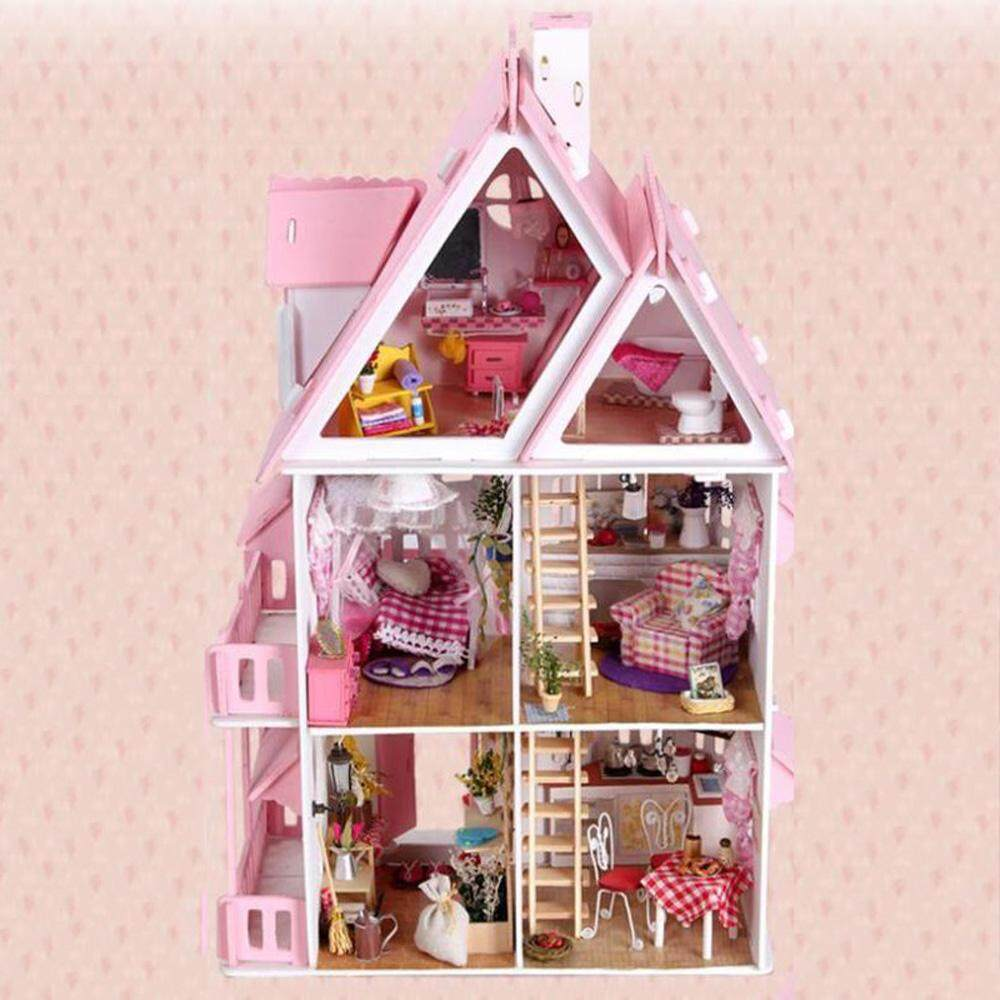 Cutiebaby Large Wooden Kids Doll House Barbie Kit Girls Play Dollhouse Mansion Furniture