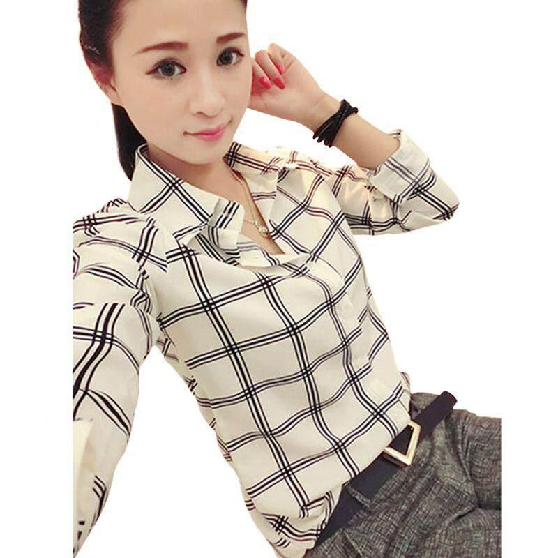 Fashion Women Lady Long Sleeve Shirts Plaids Pattern Lapel Casual Blouse Tops By Babyqt.