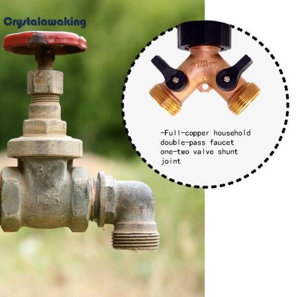 Crystalawaking Copper 2 Way Water Tap Splitter Brass Y Valve Garden Hose Connector Adapter