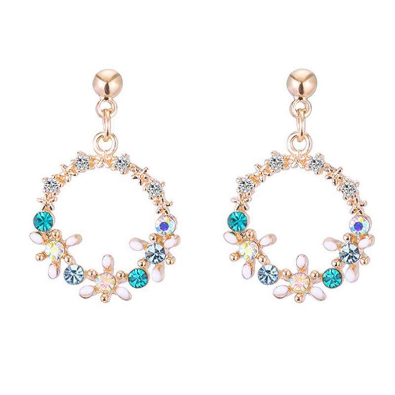 Wanita Fashion Anting Bulat Berlian Imitasi Bergaya Korea Karangan Bunga Anting Stud Klip Telinga Sweet Kecil