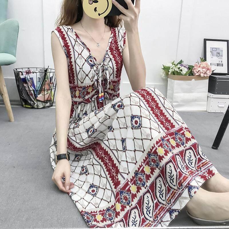 d502d272943 D New Summer Women Ladies Bohemian Floral Dress Female sleeveless National  Wind Beach Dress