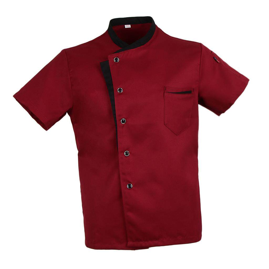 Fenteer Chef Jacket Coat Short Sleeves Shirt Food Service Kitchen Uniform for Men Women